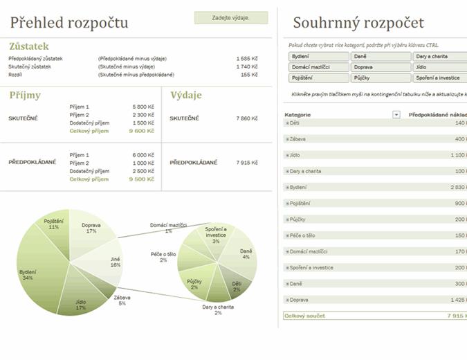 Rodinný rozpočet s grafy