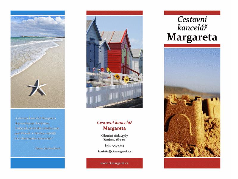 Cestovní brožura se dvěma přehyby (červený, zlatý, modrý design)