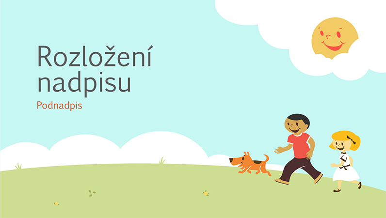 Návrh vzdělávací prezentace s hrajícími si dětmi (kreslený obrázek, širokoúhlý formát)