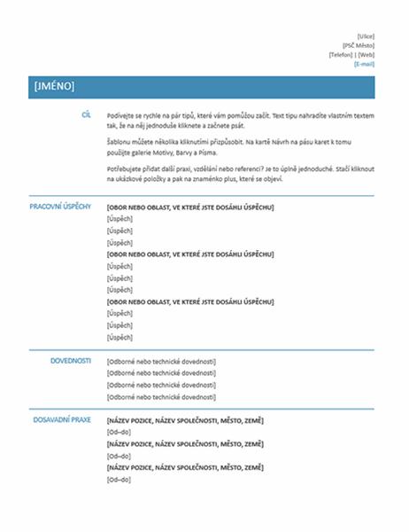 Strukturovaný profesionální životopis (jednoduchý návrh)
