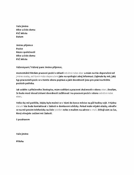 Dopis se žádostí o informační schůzku