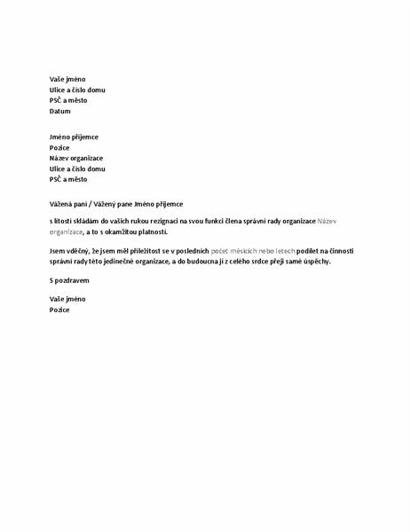 Rezignace na funkci člena správní rady