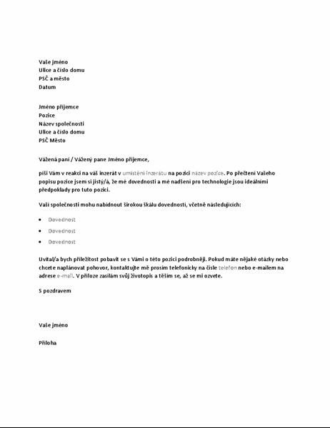 Ukázkový průvodní dopis v reakci na inzerát o technické pozici