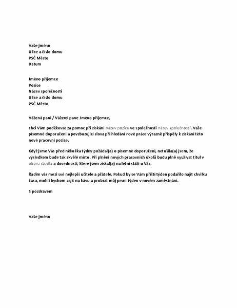 Děkovný dopis bývalému nadřízenému za doporučení, které vedlo k úspěchu při hledání práce