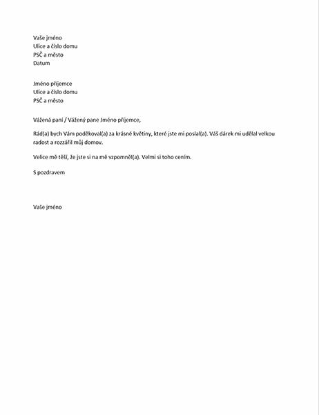 Dopis s poděkováním za osobní dárek