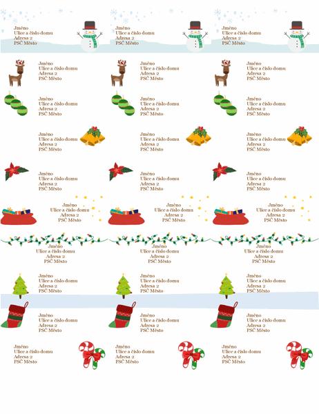 Štítky na dárky (motiv Duch Vánoc, 30 na stránku, pro Avery 5160)