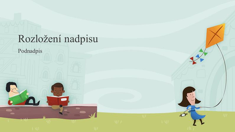 Výuková prezentace s dětmi na školním dvoře, album (širokoúhlý formát)