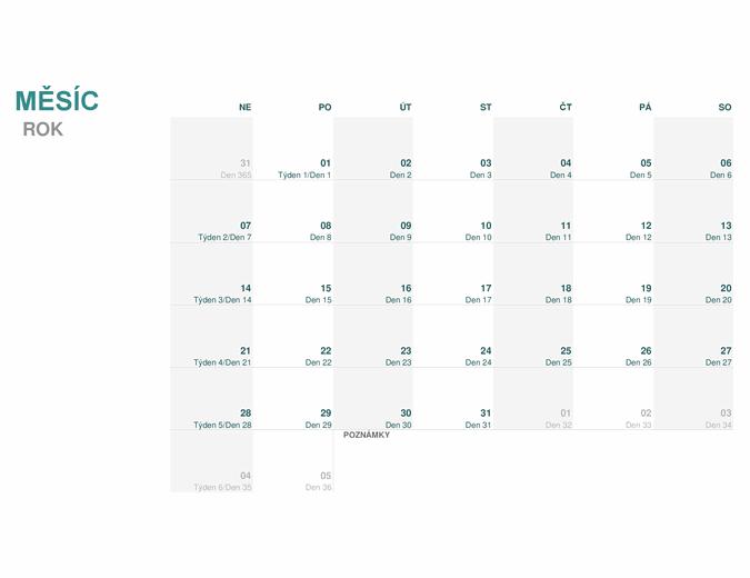 Juliánský kalendář (libovolný rok)