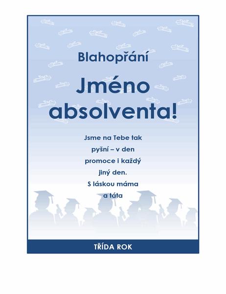 Leták s blahopřáním absolventovi (návrh pro oslavu promoce)