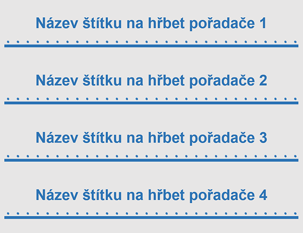 Dvoupalcové štítky na hřbet pořadače (4 na stránku)