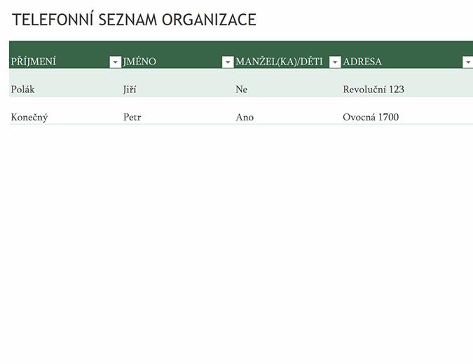 Telefonní seznam zaměstnanců