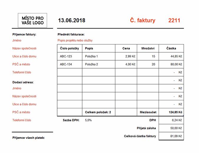 Faktura s výpočtem součtu (na šířku)