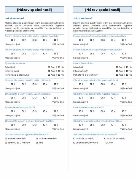 Průzkum – restaurace (2 na stránku)