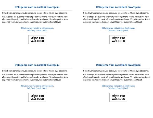 Korespondenční lístek pro uchazeče o místo při obsazení pozice (4 na stránku)
