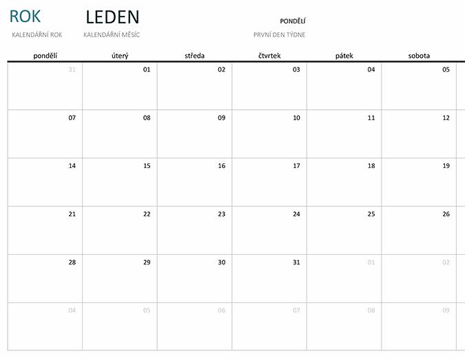 Kalendář na jeden měsíc v libovolném roce