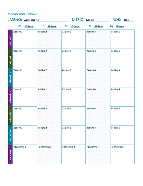 Týdenní rozpis zadání (barevný)