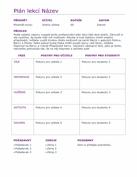 Denní plánovač lekcí (barevný)