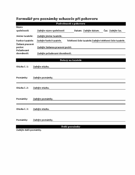 Formulář pro poznámky uchazeče při pohovoru