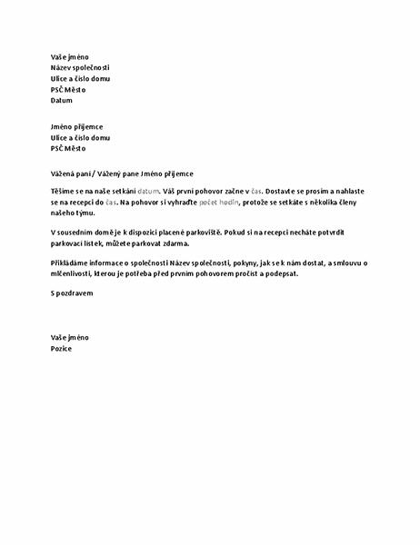 Dopis s pozvánkou na pohovor do nového zaměstnání