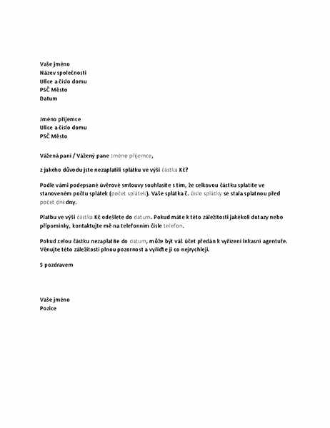 Dopis se žádostí o zaplacení dlužné částky