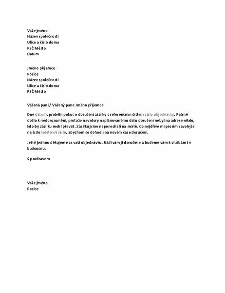 Dopis upozorňující zákazníka na zmeškanou zásilku