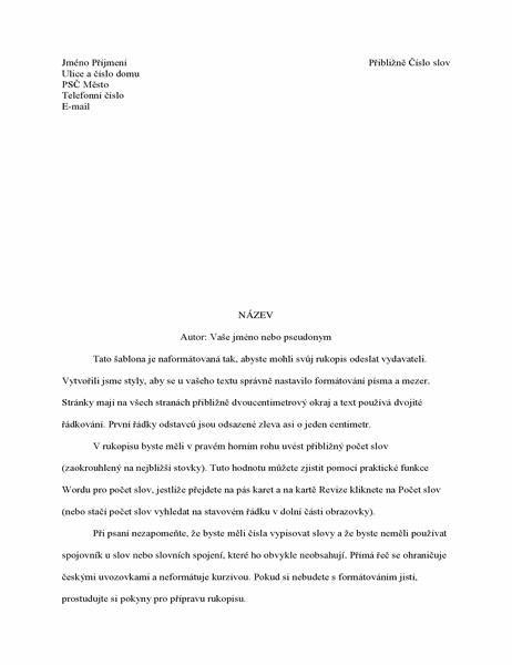 Formát rukopisu příběhu