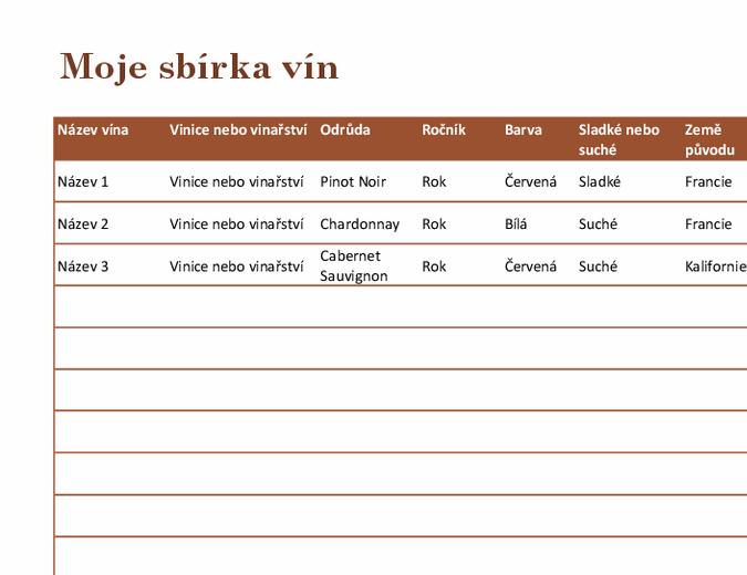 Seznam vín ve sbírce