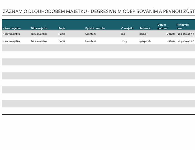 Záznam o dlouhodobém majetku s degresivním odepisováním a pevnou zůstatkovou hodnotou