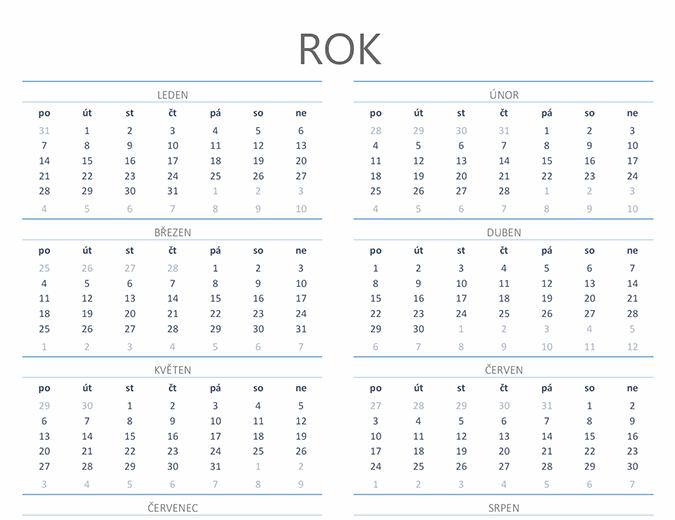 Kalendář na libovolný rok (Po–Ne)