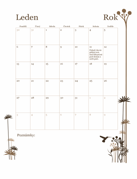 12měsíční kalendář s motivem kolibříka (pondělí–neděle)