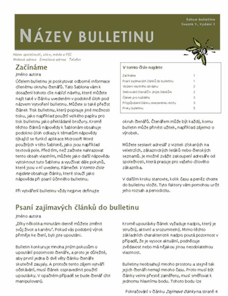 Obchodní bulletin (2 sloupce, 6 bodů, poštovní lístek)