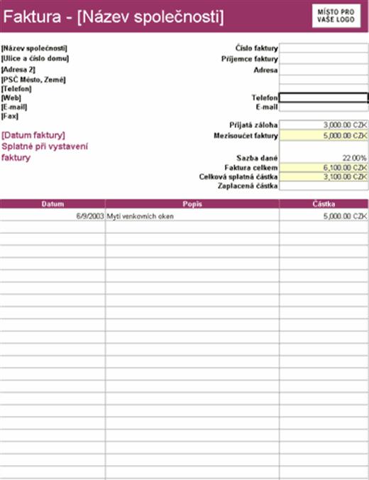 Faktura za služby s odpočtem záloh