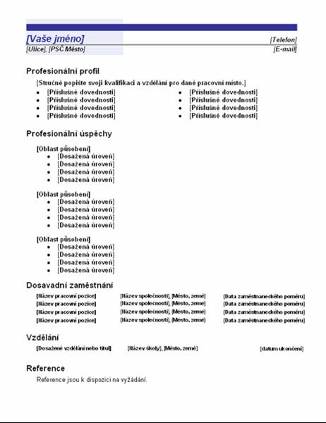 Funkční životopis (návrh Modrá čára)