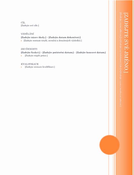 Životopis (návrh Arkýř)