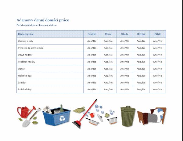 Kontrolní seznam pro domácí práce dítěte
