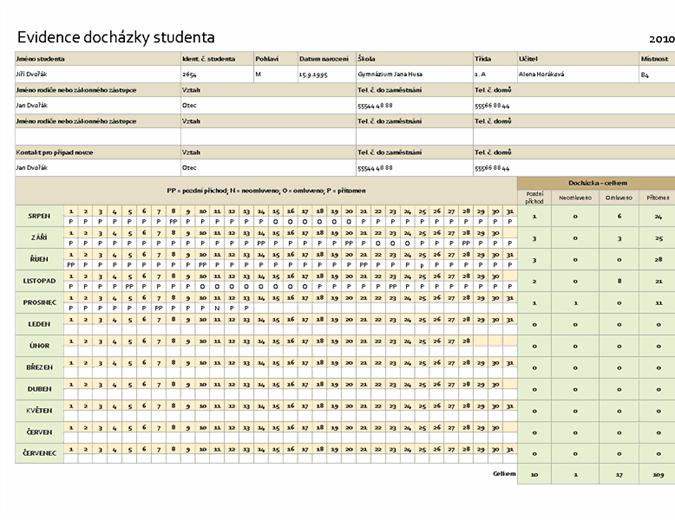 Evidence docházky studenta
