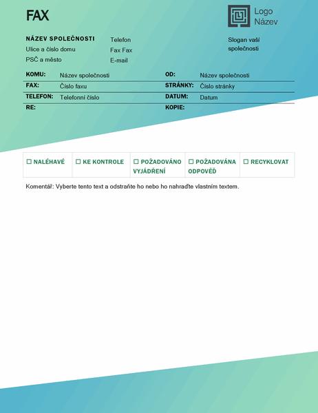 Titulní stránka faxu (návrh se zeleným přechodem)