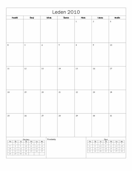 Kalendář 2010 (základní návrh, pondělí až neděle)