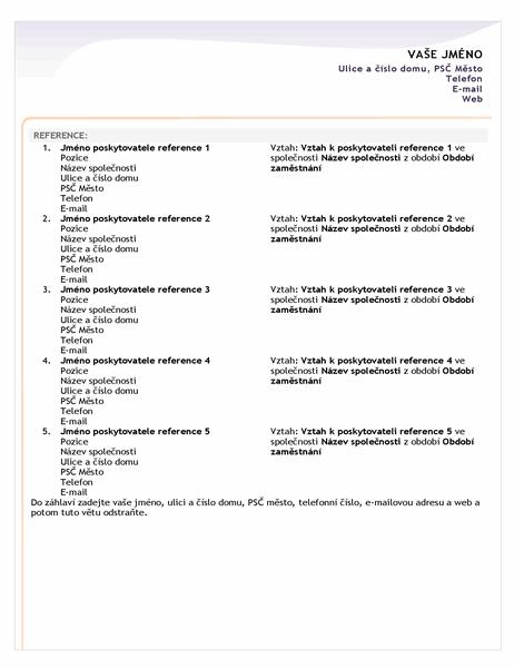 Seznam poskytovatelů referencí k základnímu životopisu