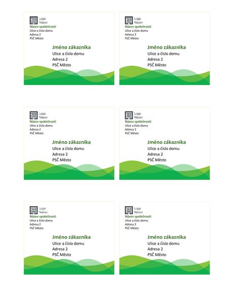 Expediční štítky (návrh se zelenou vlnou, 6 ks na stránku)