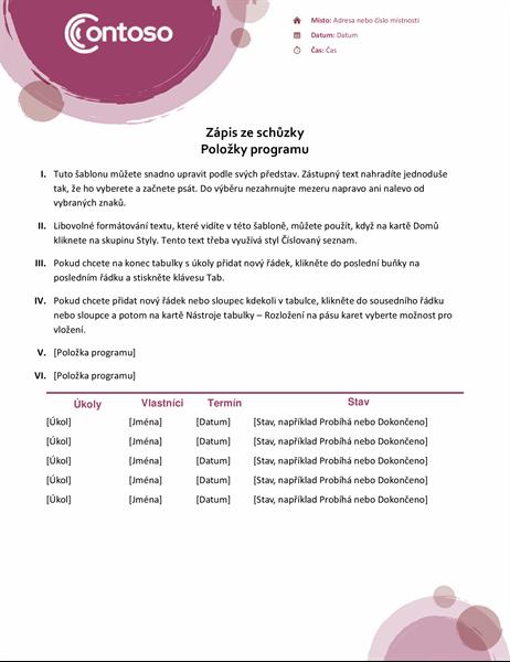 Zápis ze schůzky (růžová sada)