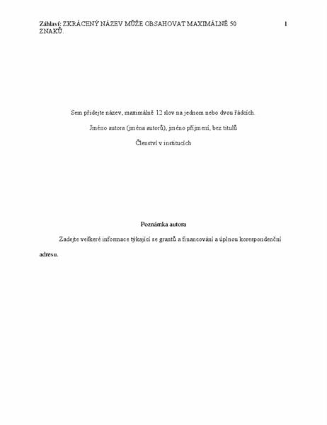 Dokument ve stylu APA