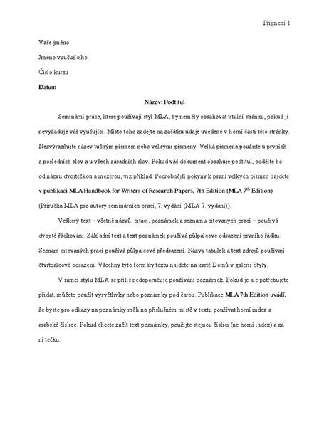 Dokument ve stylu MLA