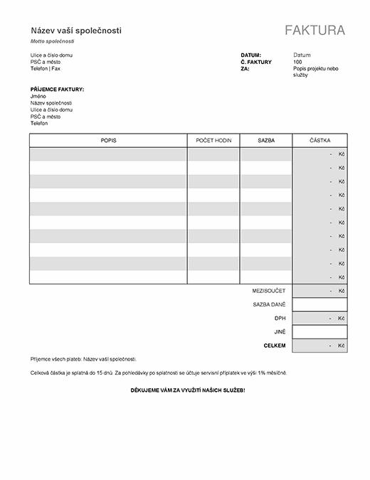 Faktura za služby s výpočtem daně