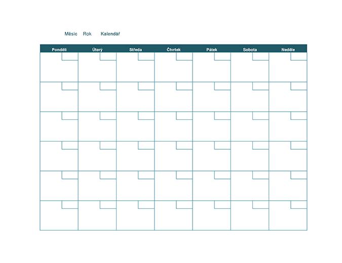 Prázdný měsíční kalendář