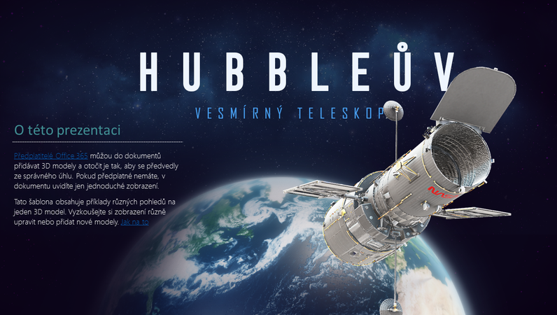 3D prezentace v PowerPointu (model Hubbleova teleskopu)