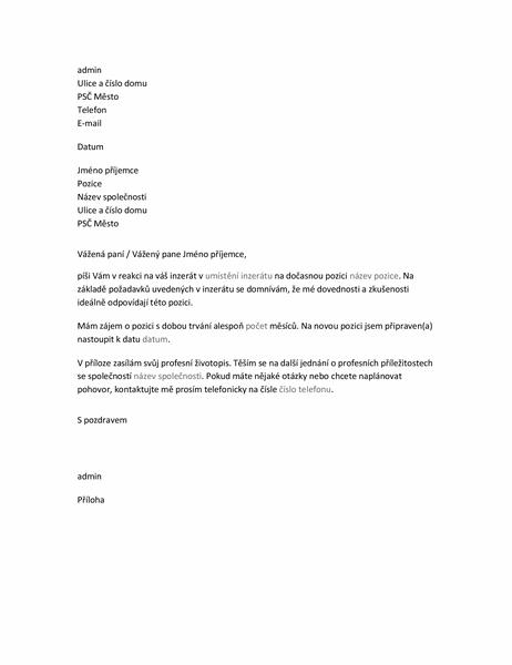 Průvodní dopis životopisu u žádosti o dočasnou pozici