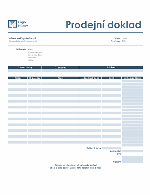 Účtenka (jednoduchý modrý návrh)