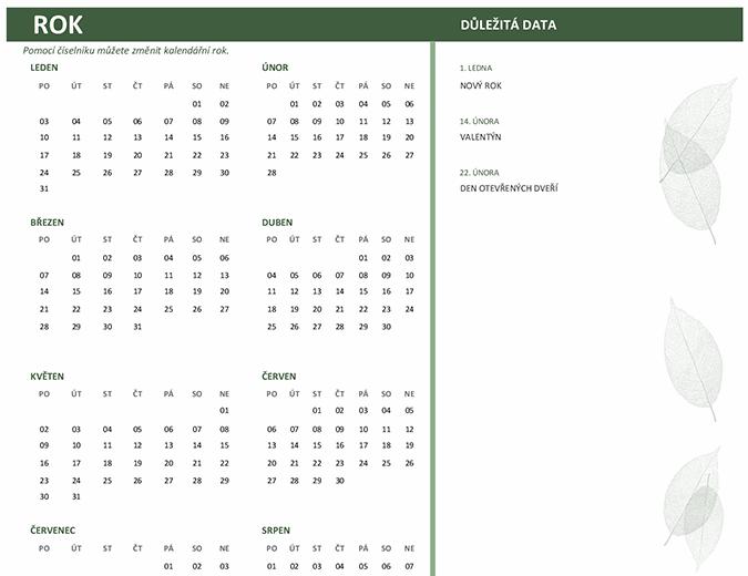 Firemní kalendář (libovolný rok, pondělí–neděle)
