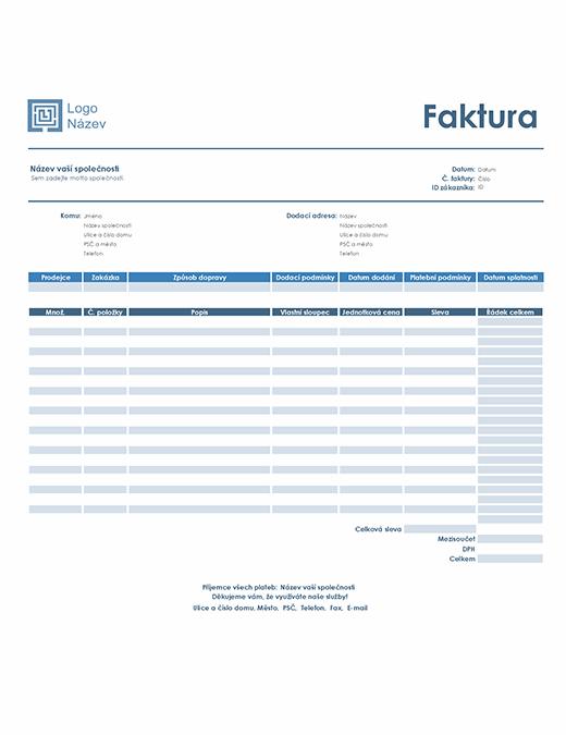 Faktura za služby (jednoduchý modrý návrh)